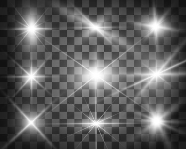 Satz helle schöne sterne. lichteffekt. heller stern. schönes licht zur veranschaulichung. weihnachtsstern. weißer glitzer funkelt mit speziellem lichteffekt. funkelt auf einem transparenten hintergrund.