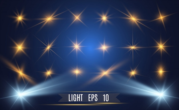 Satz helle schöne sterne. lichteffekt. heller stern. weißer glitzer funkelt mit speziellem lichteffekt. funkelt auf einem transparenten hintergrund.
