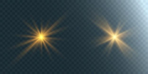 Satz helle sterne auf einem transparenten hintergrund