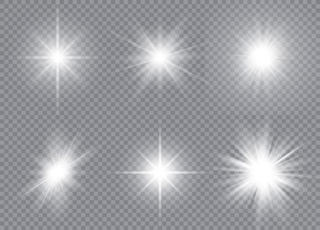Satz helle sterne. sonnenlicht durchscheinender lichteffekt mit speziellem design.