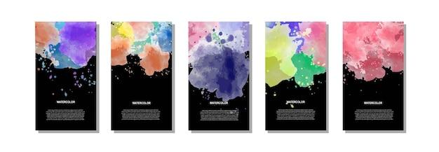 Satz heller bunter aquarellhintergrund für plakat, broschüre oder fliegerplakat
