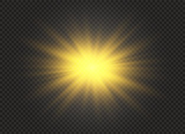 Satz heller stern. gelb leuchtendes licht explodiert