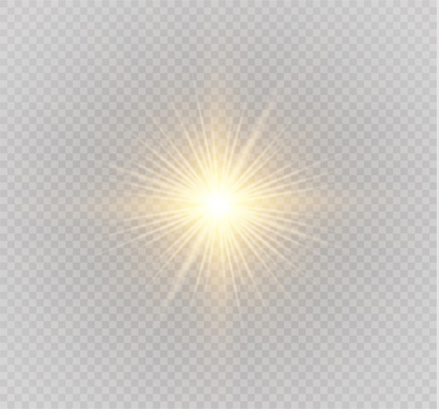 Satz heller stern. gelbes leuchtendes licht explodiert auf einem transparenten hintergrund. transparent strahlende sonne, heller blitz.