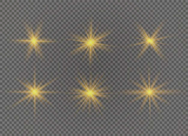Satz heller stern. gelbes leuchtendes licht explodiert auf einem transparenten hintergrund. transparent strahlende sonne.