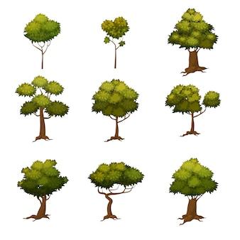 Satz herbstbäume, verschiedene arten, moderne tendenz, karikaturart