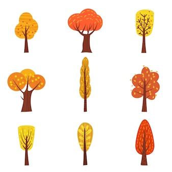 Satz herbstbäume, verschiedene arten, moderne tendenz