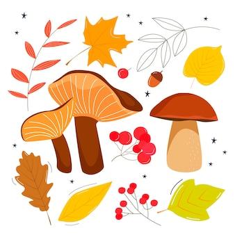 Satz herbstblätter und pilze. illustration im flachen stil Premium Vektoren