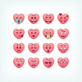 Satz herzform emoticons. romantiker und valentinstag smileys, emojies.