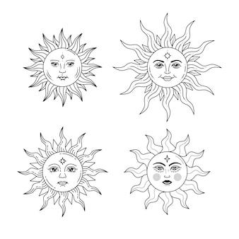 Satz himmlischer sonnen mit gesicht und geöffneten augen stilisierte zeichnung tarotkarte mystische elemente