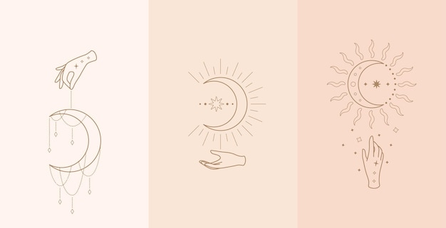 Satz himmlischer talisman mit frauenhänden. illustration im boho-stil