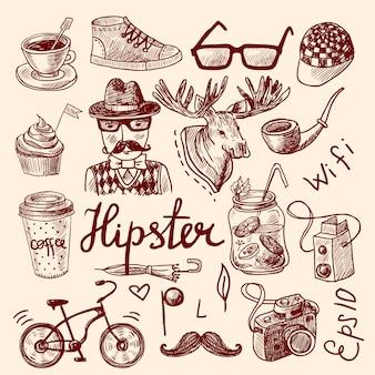 Satz hippie-zubehör, -avatar und -elemente