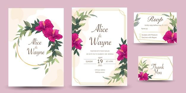 Satz hochzeitseinladung mit hibiskusblüten