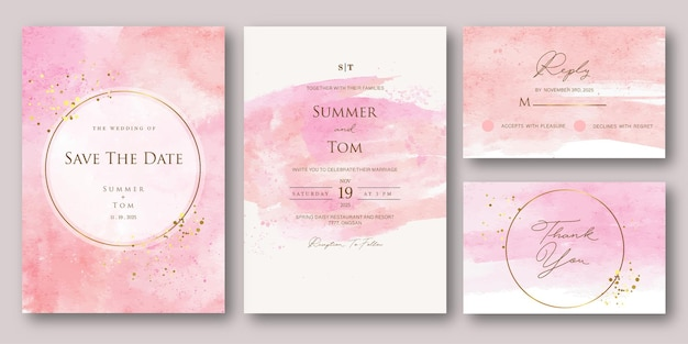Satz hochzeitseinladung mit rosa abstraktem aquarell