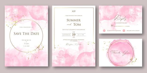 Satz hochzeitseinladung mit rosa abstraktem aquarellstil