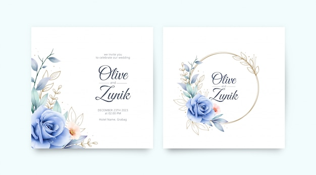 Satz hochzeitseinladung mit rosen blaues aquarell und goldblätter