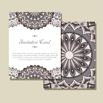 Satz hochzeitseinladungen. hochzeitskartenschablone mit mandala. design für einladung, danke karte, speichern sie die datumskarte