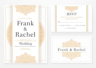 Satz Hochzeitseinladungs-Schablonendesign mit eleganter Art