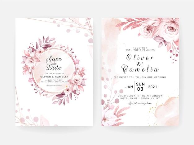 Satz hochzeitseinladungskarte mit schönen weichen cremigen blumen und blättern