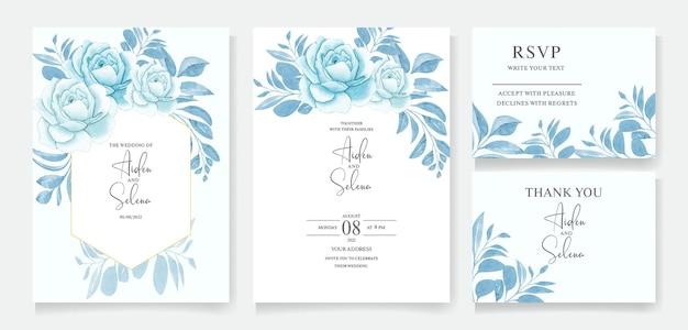 Satz hochzeitseinladungskartenschablone mit aquarellblumenrahmen und botanischem