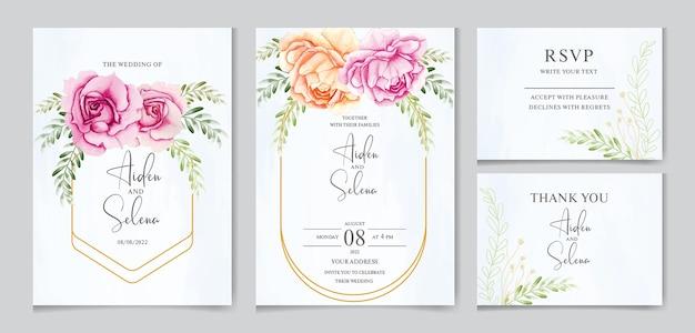 Satz hochzeitseinladungskartenschablone mit der schönen rose und den blättern des aquarells