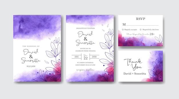 Satz hochzeitseinladungskartenschablone mit schönem aquarellspritzer und von hand gezeichneten blättern