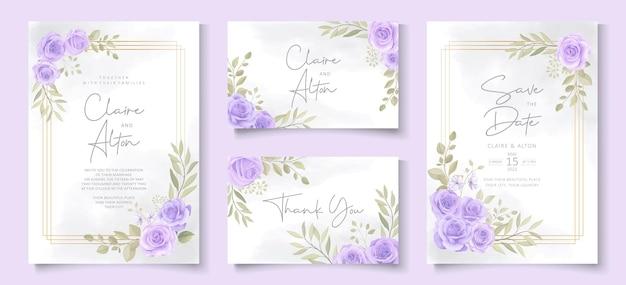 Satz hochzeitseinladungsschablone mit schönem lila blühendem rosenentwurf