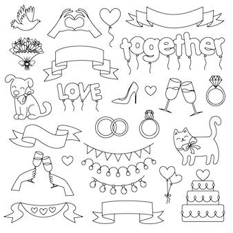 Satz hochzeitselemente. einfache symbole. dekoration einer hochzeitsfeier. doodle-vektor-illustration
