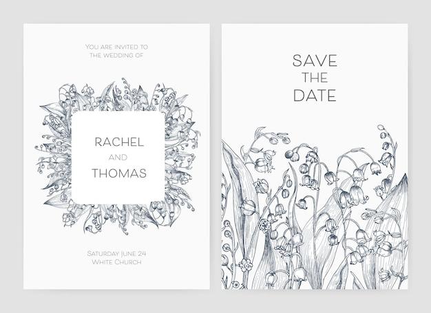 Satz hochzeitsfeiereinladung und save the date-kartenschablonen mit gezeichneter maiglöckchenblumenhand