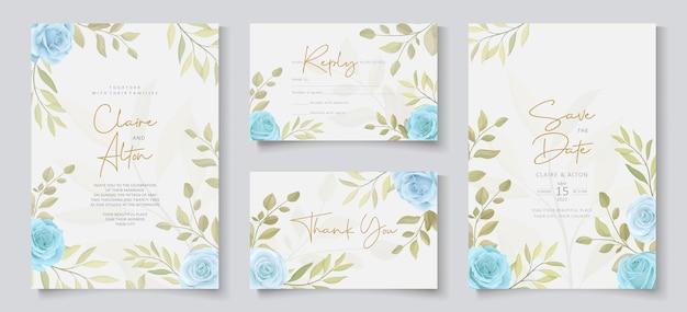 Satz hochzeitskartenentwurf mit blauen rosen