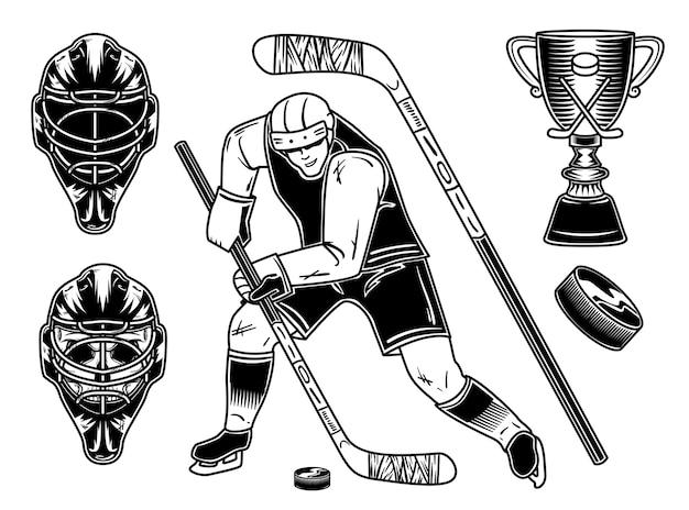 Satz hockeyspieler und ausrüstung