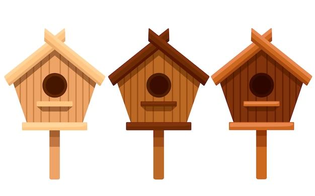 Satz hölzernes vogelhaus. nistkasten aus verschiedenen holzarten. illustration auf weißem hintergrund