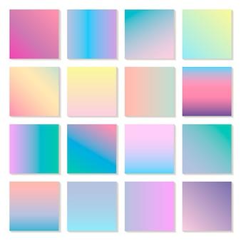 Satz holographischer moderner farbverläufe, hintergründe. bildschirm für mobile app