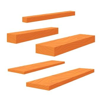 Satz holzbretter, stapel von stangen und holzbalken, stapel von holzstämmen holz. planken für den bau flache illustration