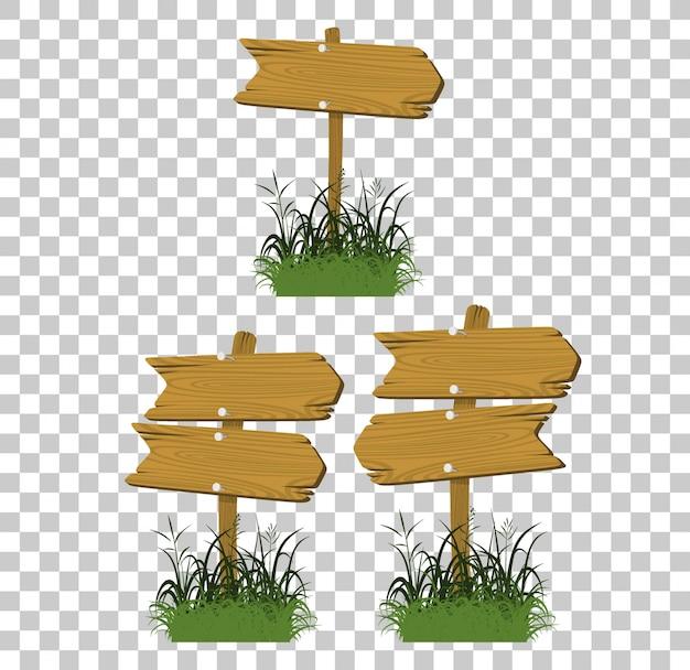 Satz holzschilder in einem gras lokalisiert
