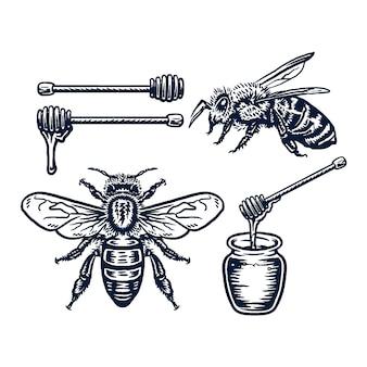 Satz honigbienen auf weiß