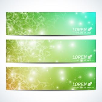 Satz horizontale banner. hintergrundwissenschaft, verbindung, chemie, biologie, medizin, technologie. modernes design