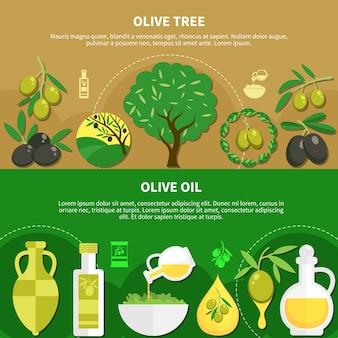 Satz horizontale banner mit olivenöl in verschiedenen verpackungen