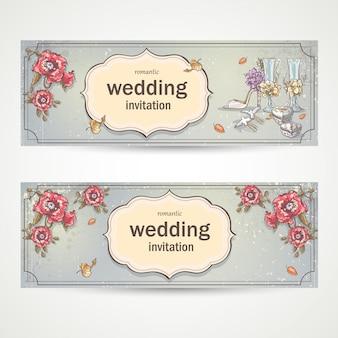 Satz horizontale bannerhochzeitseinladungen mit mohnblumen, gläsern, tauben und dem brautschuh