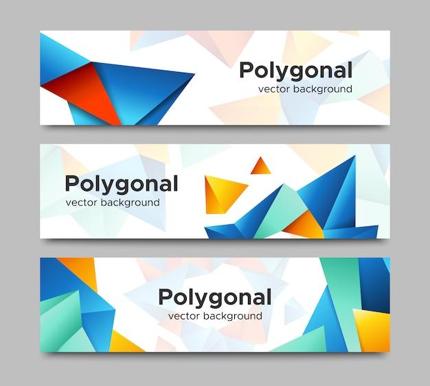 Satz horizontale polygonale fahnen des vektors