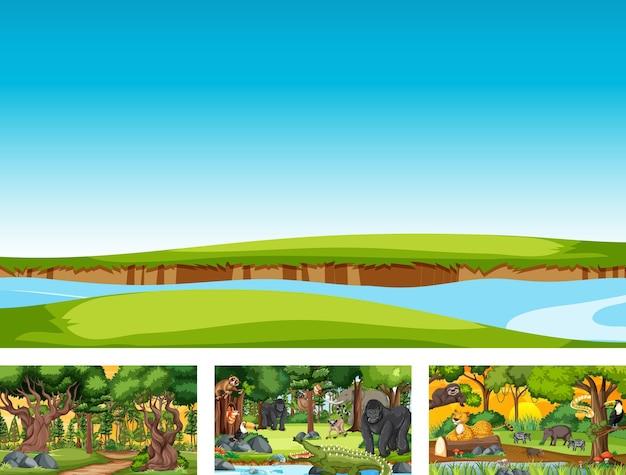 Satz horizontale szene der unterschiedlichen natur mit verschiedenen wilden tieren