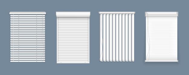 Satz horizontale und vertikale jalousien für fenster, elementinnenraum. realistische geschlossene fensterläden, vorderansicht. horizontale, vertikale geschlossene und offene jalousien für büroräume.