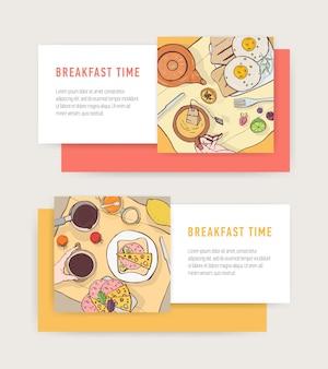 Satz horizontale web-banner-vorlagen mit leckeren frühstücksmahlzeiten, die auf tellern liegen - spiegeleier, toast, sandwiches
