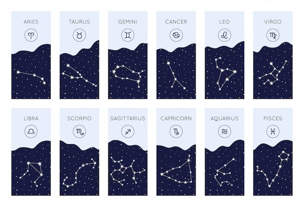 Satz horoskopsymbole. sammlung von tierkreiskonstellationen
