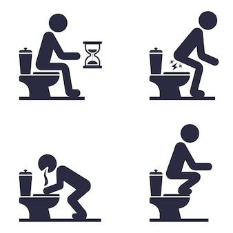 Satz ikonen eines mannes, der auf der toilette sitzt