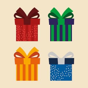 Satz ikonen-geschenkboxen präsentieren überraschungsfeierillustration