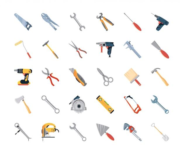 Satz ikonen mit bauwerkzeugen und zimmerei