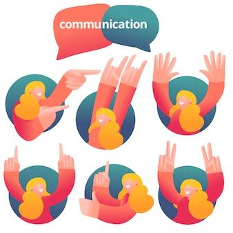 Satz ikonen mit der weiblichen figur, die emotionale kommunikation hat. verschiedene emotionen.