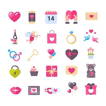 Satz ikonen mit herz-valentinsgruß-tagesferiengeschenken, die mitteilungen grüßen, lokalisierte romantisches konzept