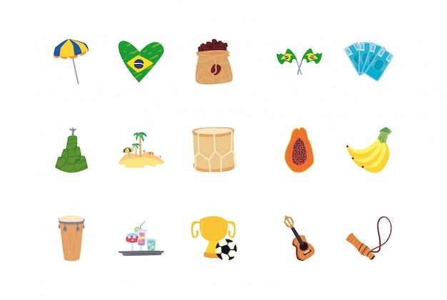 Satz ikonen von rio de janeiro-karneval auf weiß