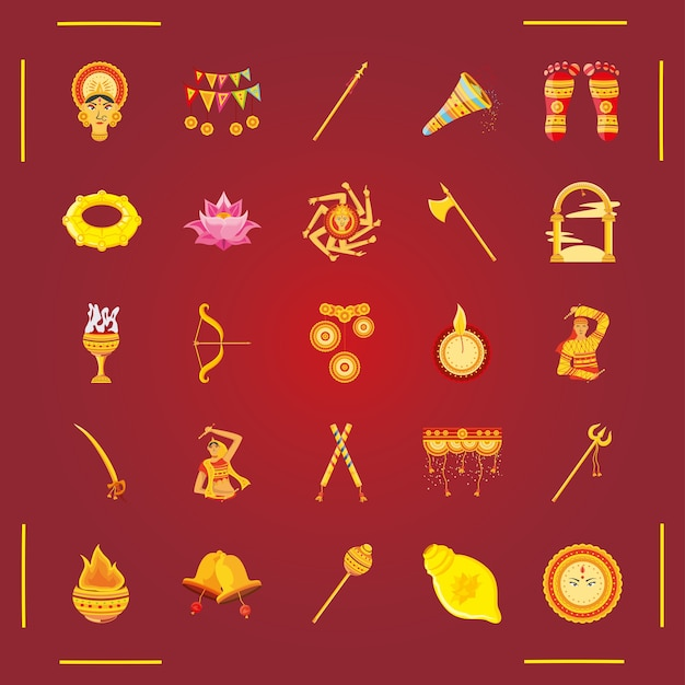 Satz ikonenfestival navratri auf rotem hintergrund